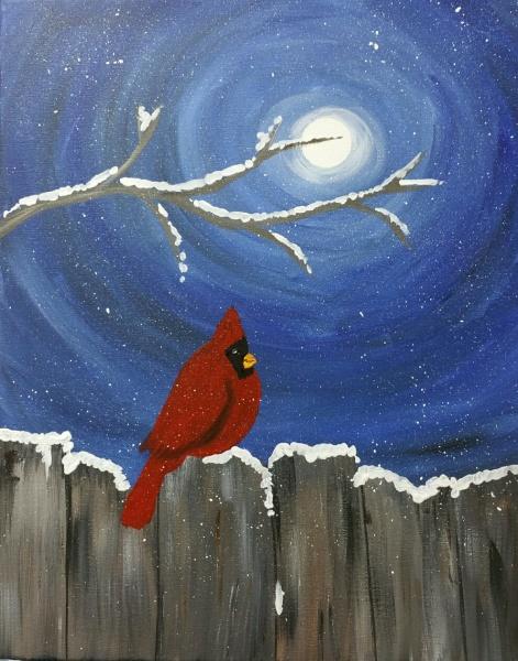 Winter Moonlit Cardinal