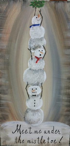 Winter -Stacked Snowmen - meet me under the mistletoe