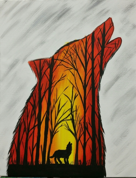 Outline - Wolf at sunset