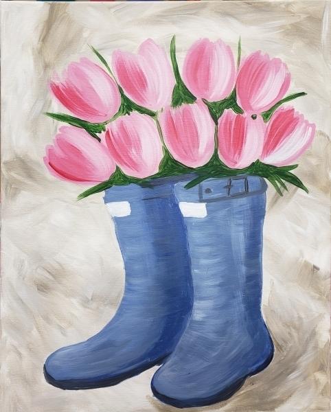 Tulips and Rainboots blue