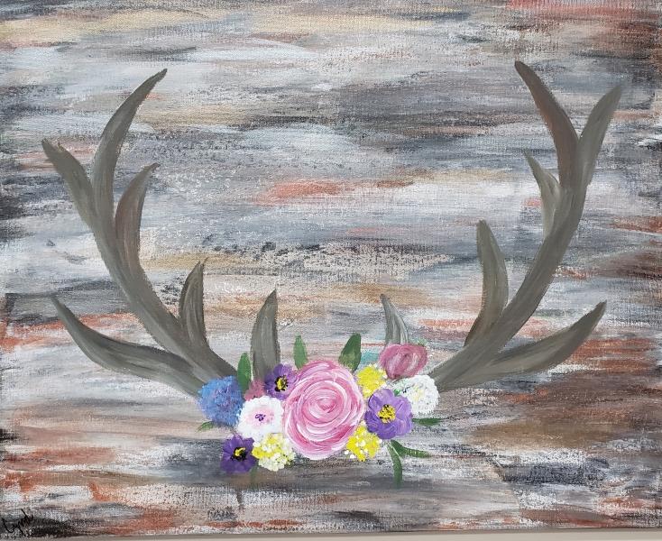Fall  Deer Antlers and Flowers
