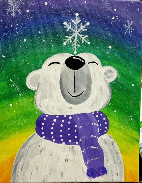 Winter Polar Bear with Snowflake
