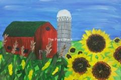 Sunflower Barn with Corn