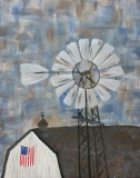 Barn and Windmill with Flag