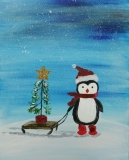 Winter -Penguin with a Sled