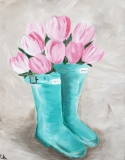 Tulips and Rainboots -teal