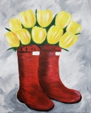 Tulips and Rainboots red