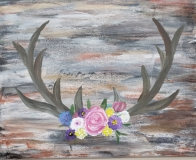 Fall  Deer Antlers and Flowers