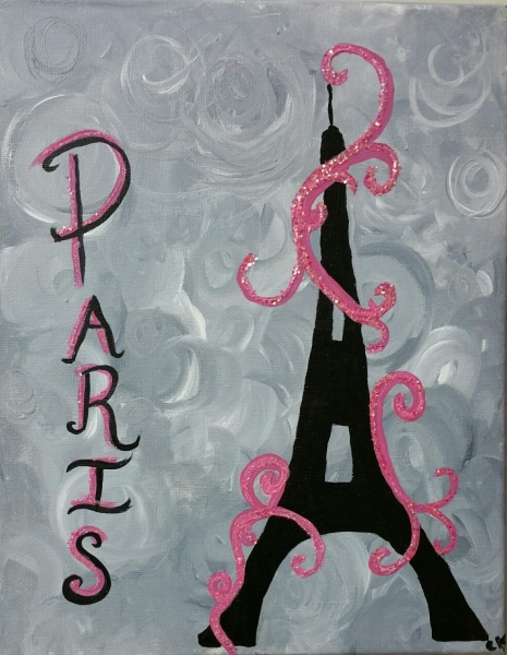 Paris with pink glitter
