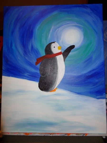 Winter Penquin holding the moon