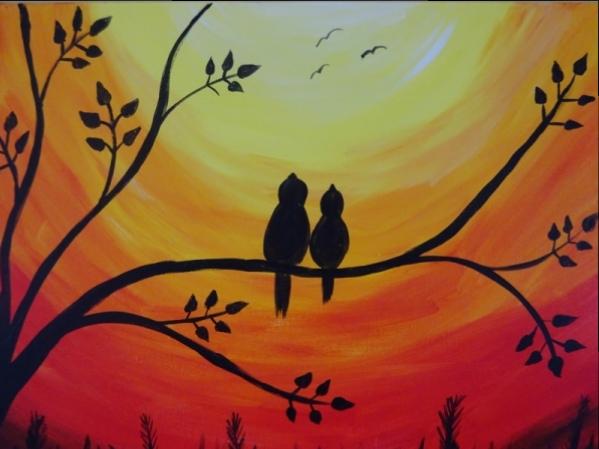 Birds on a Branch - Sunset
