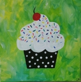 Cupcake - black polka dot