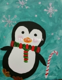 Winter -Penguin with a Candy Cane