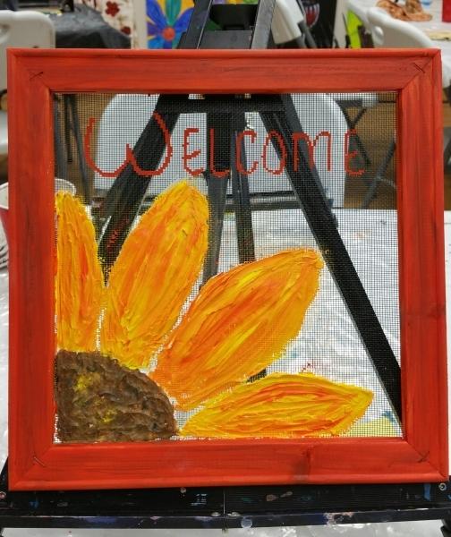 Screen - Peeking flower 10x10
