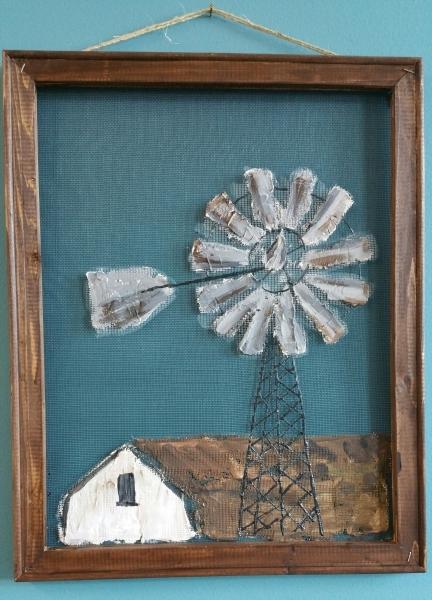 Screen -Barn and Windmill