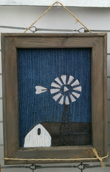 Denim Canvas Barn and Windmill 8x10