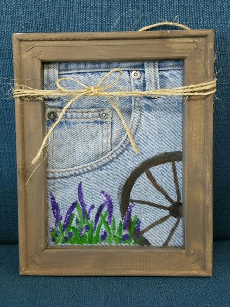 Denim Canvas Wagonwheel and Purple flowers 8x10