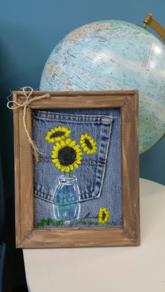 Denim Canvas Sunflowers in a jar  8x10
