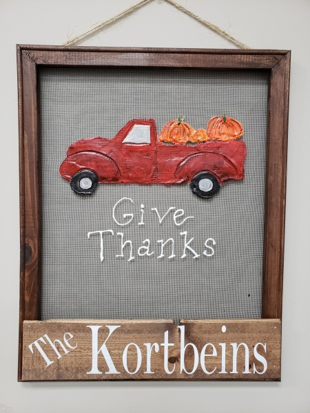 Screen - Give Thanks Red truck with Pumpkins