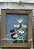 Denim Canvas Fence and Flowers 8x10