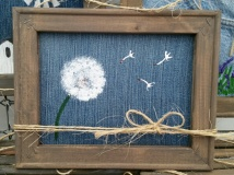 Denim Canvas Dandelion 8x10