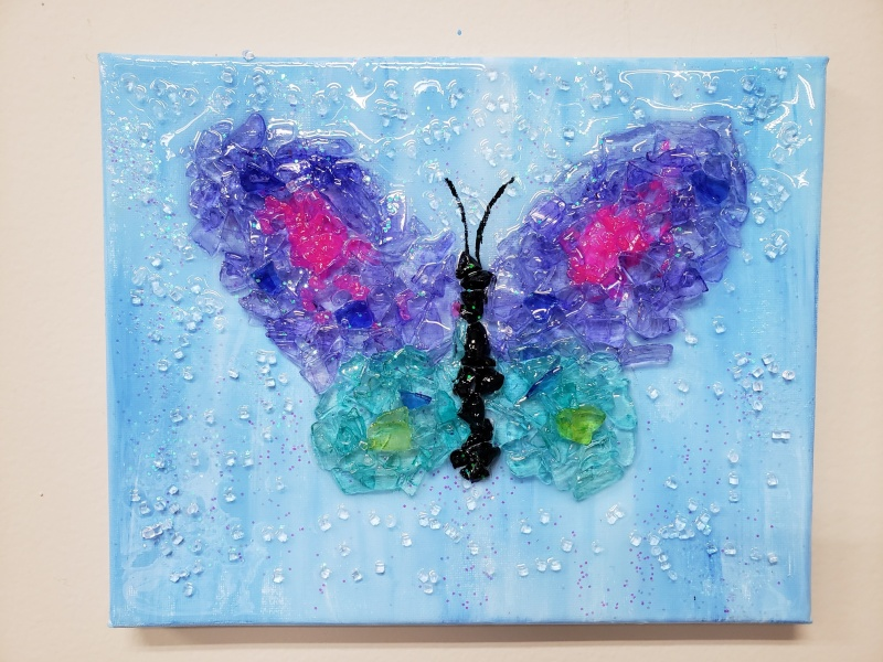 Butterfly made of shattered glass
