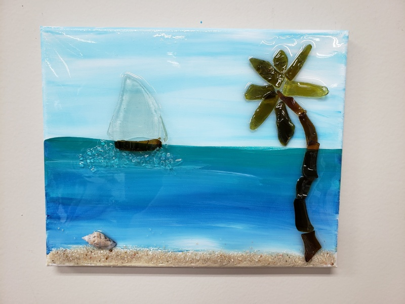 Beach scene with palm made with shattered glass