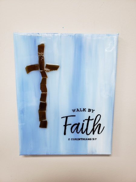 Walk by Faith cross with shattered glass