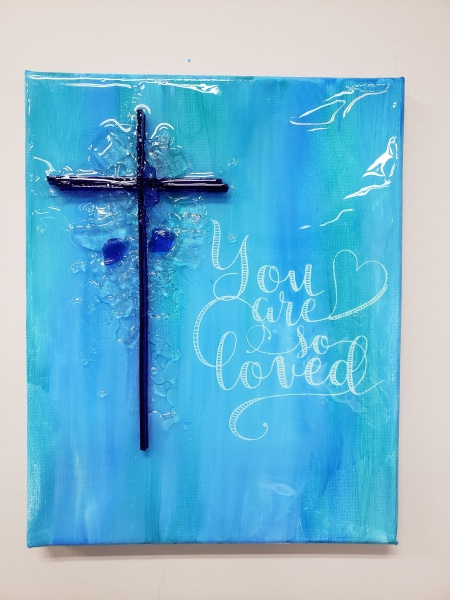 Cross - you are loved cross with shattered glass