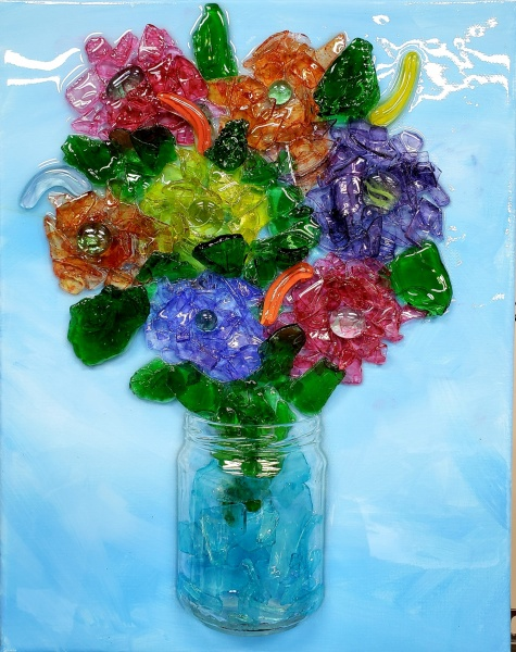 Mason Jar with Flowers with shattered glass