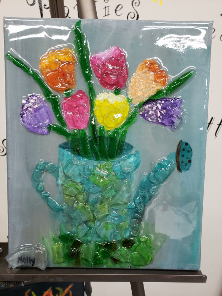 Xcelent Guest Creation - watering can and tulips