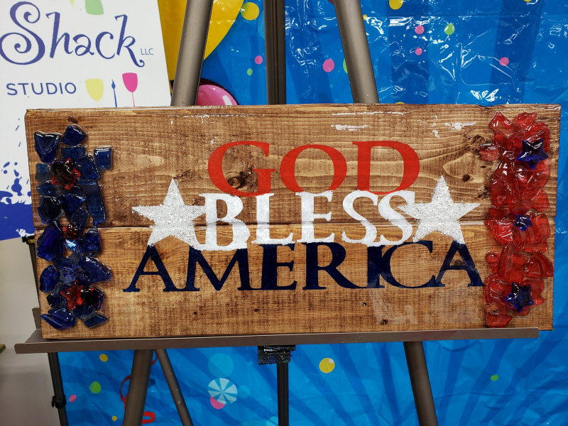 God Bless America with shattered glass (stained wood)