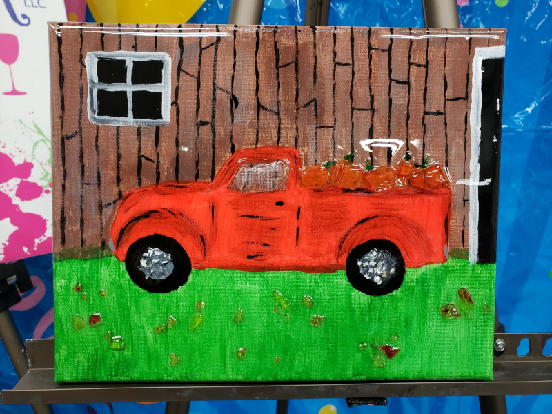 Xcelent Guest Creation - Red Truck with pumpkins canvas