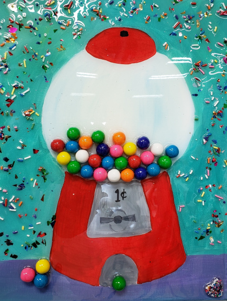 Bubble gum machine with real gum