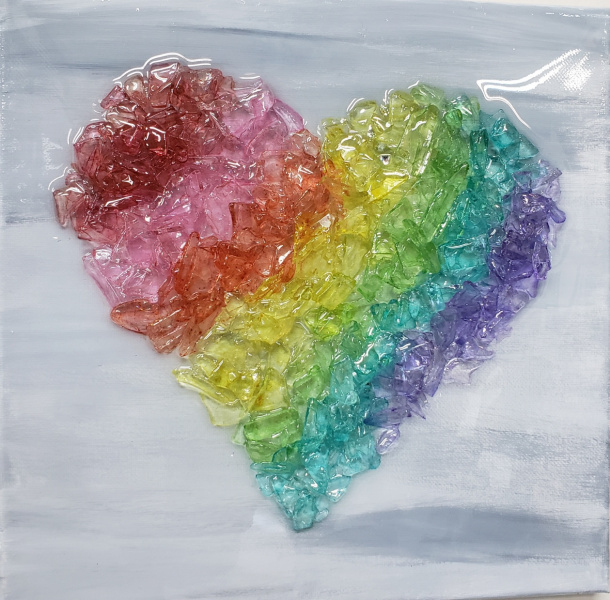 Rainbow heart - colored glass