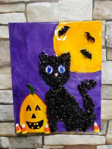 Halloween Cat with bats and real candy corn