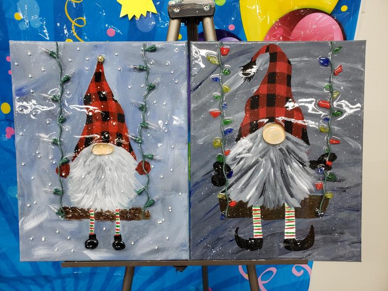 Gnomes on a swing with shattered art