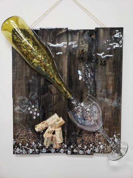 Xcelent Guest Creation -Bottle and wine glass with Glitter
