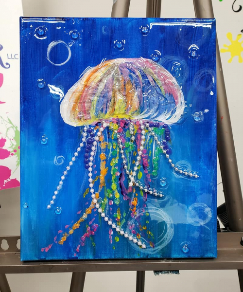 Jellyfish with shattered art and pearl strings