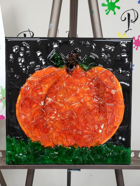 Pumpkin made with google eyes and shattered glass