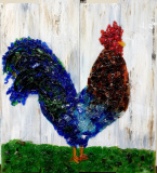 Rooster on wood made with shattered glass