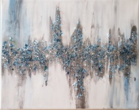 Abstract - Blue and Silver with shattered glass