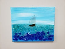 Sailboat on the water made with shattered glass