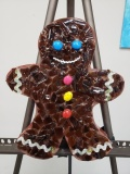 Gingerbread art with shattered glass