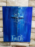 Cross with Faith made with glass