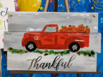 Xcelent Guest Creation - Red Truck with pumpkins wood