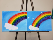 Rainbow with glass