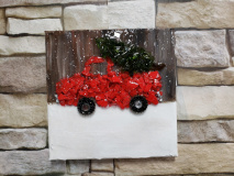 Red Truck and tree with snow