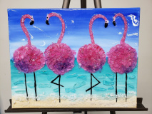 Flamingo party with Shattered glass