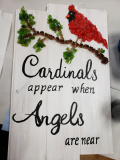 Cardinals appar when angels are near- shattered art on wood